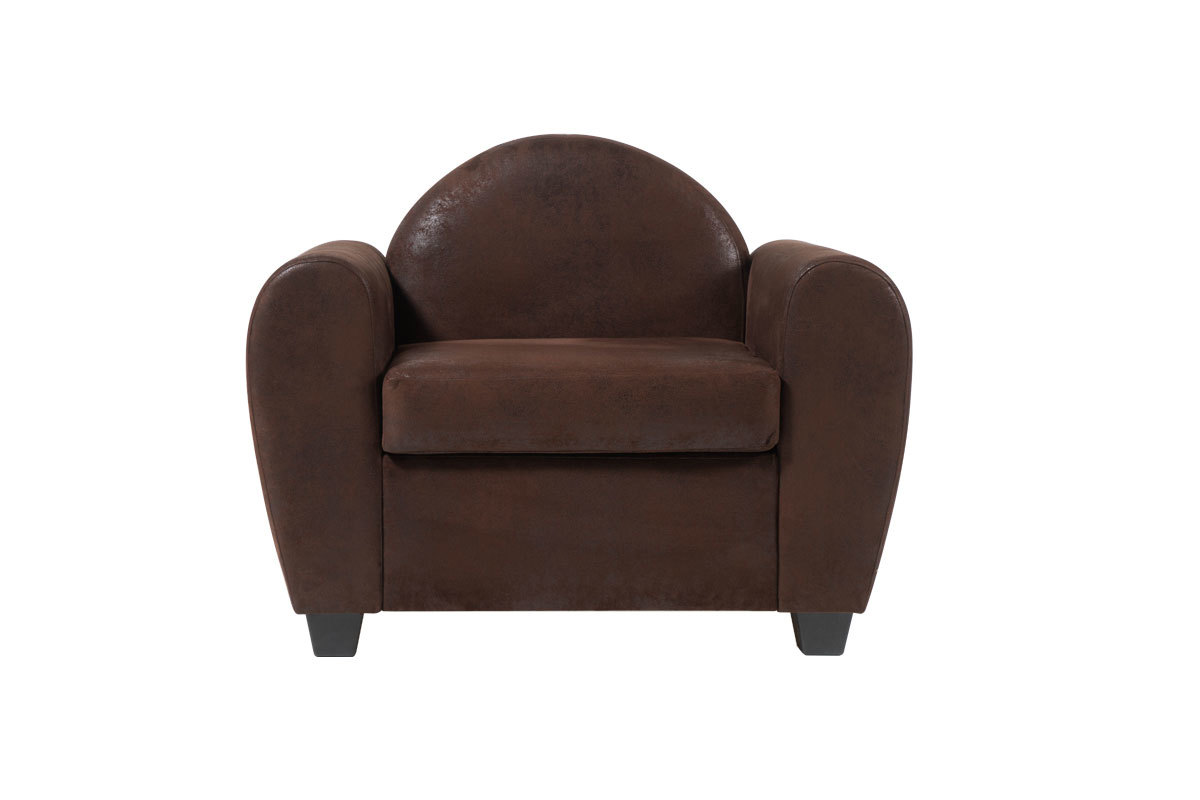 fauteuil design club effet cuir vieilli marron paulo miliboo. Black Bedroom Furniture Sets. Home Design Ideas