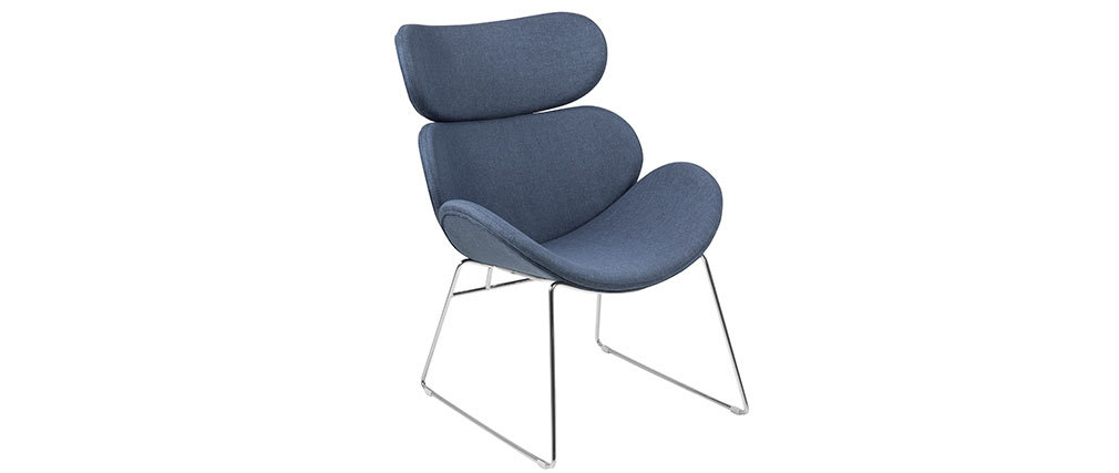 Fauteuil design contemporain bleu foncé GABRIEL