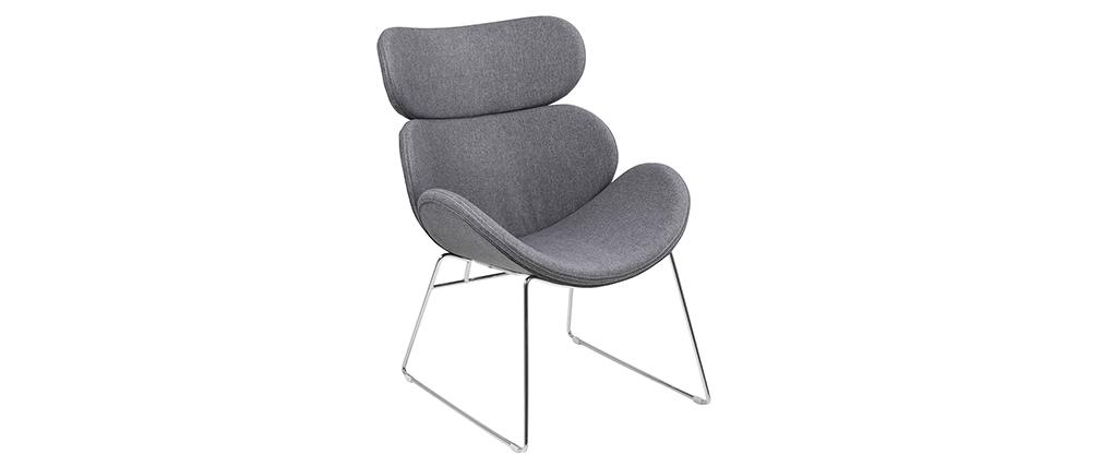 Fauteuil design contemporain gris clair GABRIEL