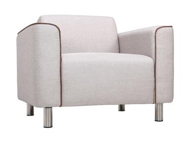 Fauteuil design contemporain tissu gris clair MOOJIK