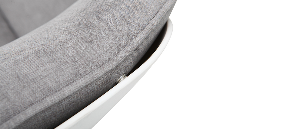 Fauteuil design coque blanche et tissu gris KOKON