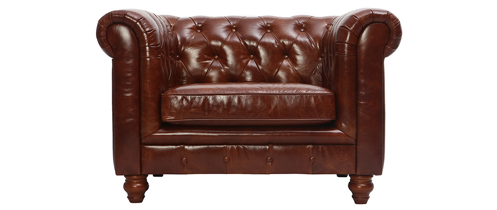Fauteuil design cuir marron CHESTERFIELD - cuir de buffle