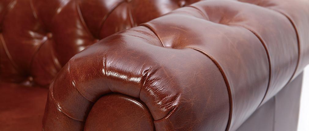 Fauteuil design cuir marron CHESTERFIELD - cuir de buffle