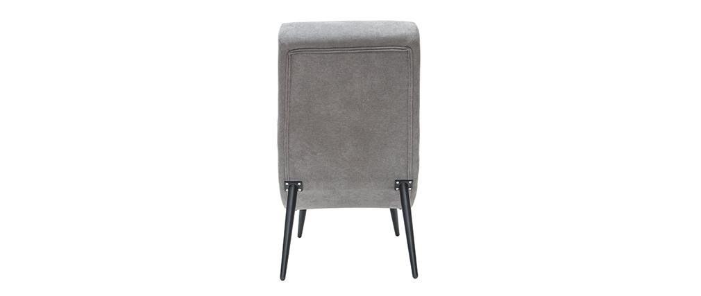 Fauteuil design effet velours gris et métal noir TAYLOR