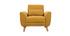 Fauteuil design effet velours jaune moutarde et bois clair  EKTOR