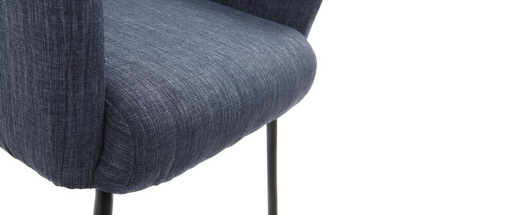 Fauteuil design en tissu bleu jean avec repose-pieds ULYSSE