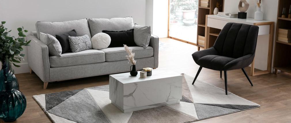 Fauteuil design en tissu effet velours gris foncé BILLIE