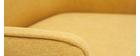 Fauteuil design en tissu effet velours jaune moutarde LAURENS