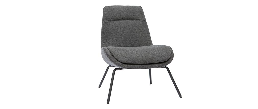 Fauteuil design en tissu effet velours texturé gris foncé GILLY