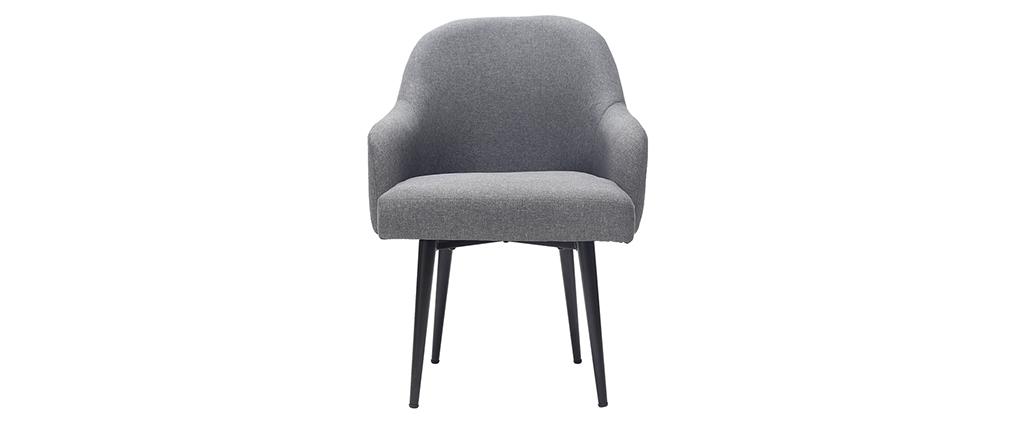 Fauteuil design en tissu gris foncé et pieds métal noir AMON