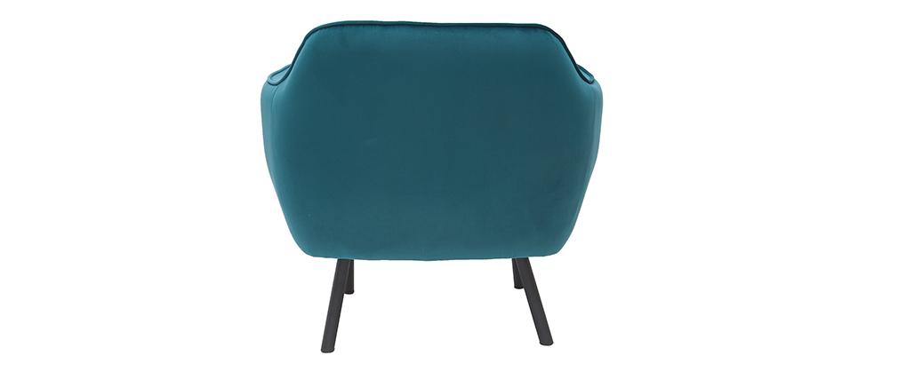 Fauteuil design en tissu velours bleu pétrole LAURENS