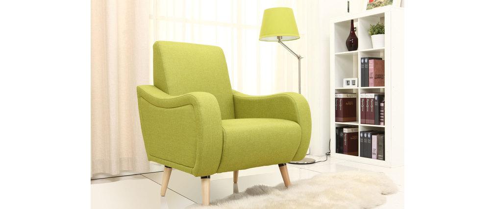 fauteuil design en tissu vert eloi miliboo. Black Bedroom Furniture Sets. Home Design Ideas