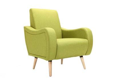 Fauteuil design en tissu vert ELOI