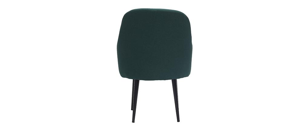 Fauteuil design en tissu vert foncé et pieds métal noir AMON