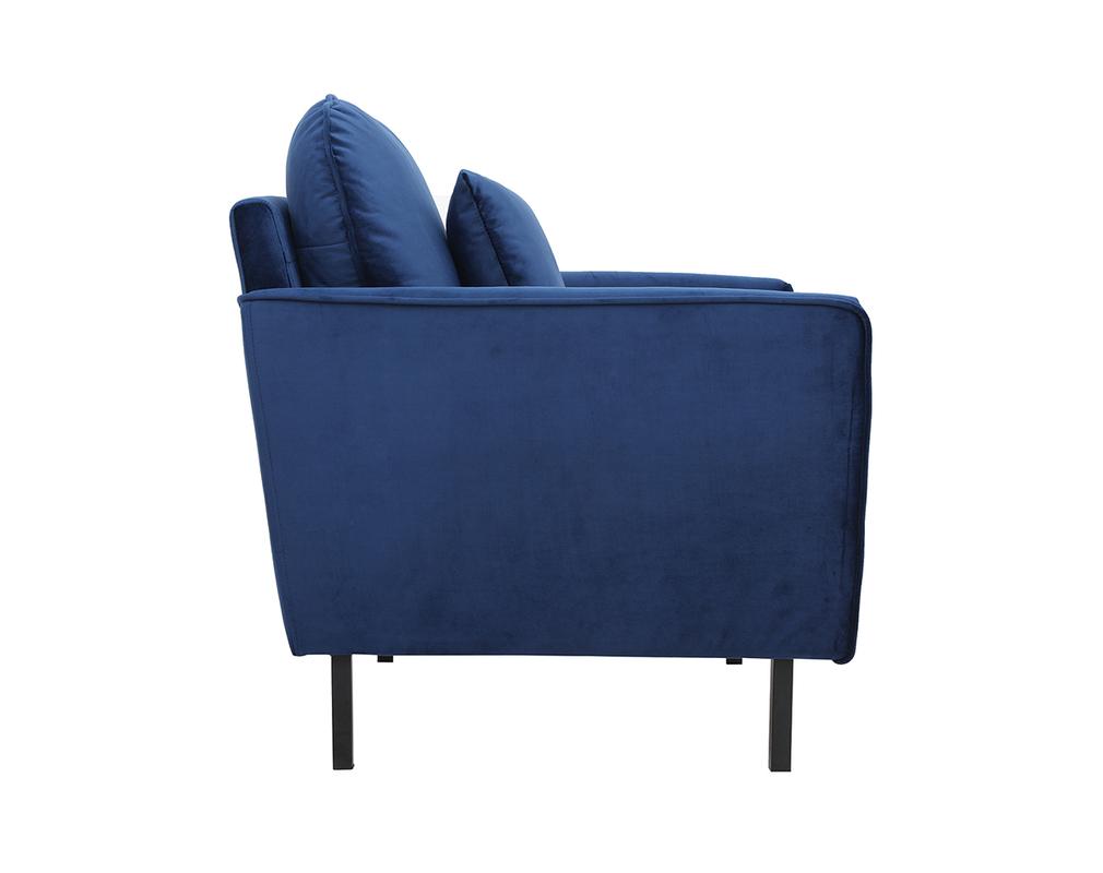 Fauteuil design en velours bleu BEKA Miliboo