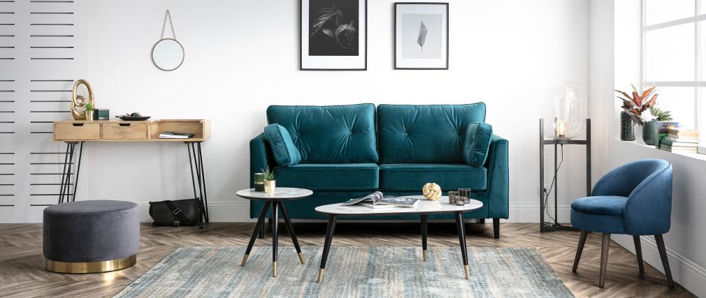 Fauteuil design en velours bleu et pieds bois UTA