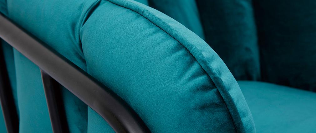 Fauteuil design en velours bleu pétrole MALONE