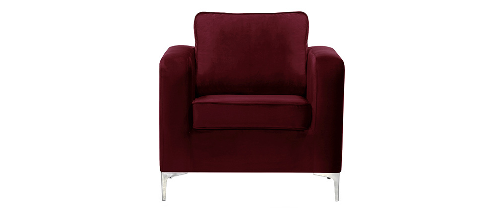 Fauteuil design en velours bordeaux HARRY