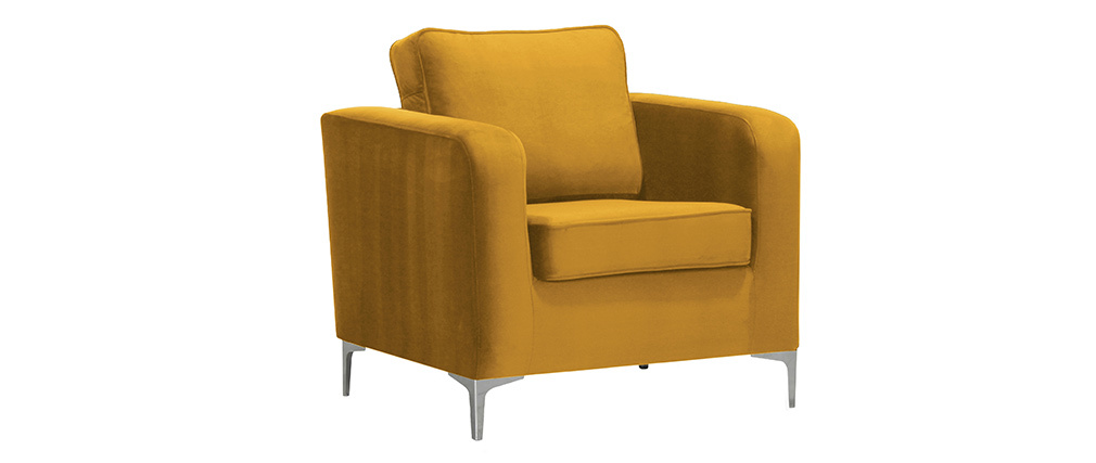 Fauteuil design en velours doré HARRY