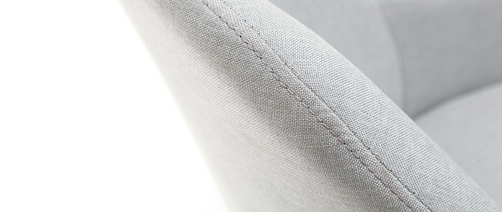 Fauteuil design gris pieds bois clair MONA