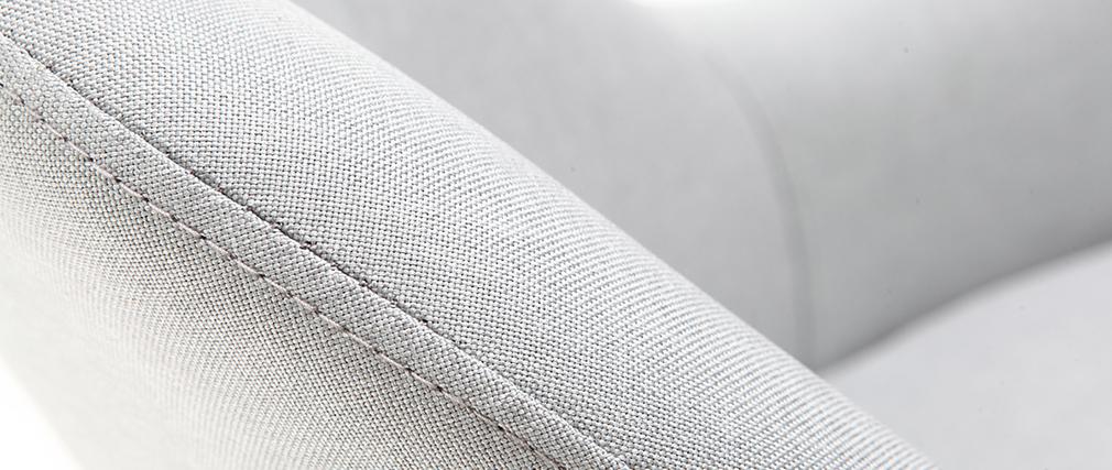 Fauteuil design gris pieds bois foncé MONA