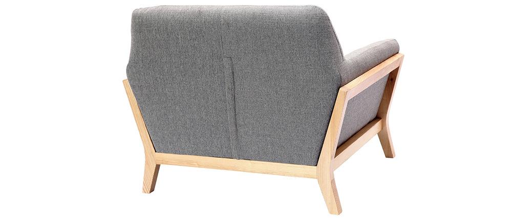 Fauteuil design gris pieds bois YOKO