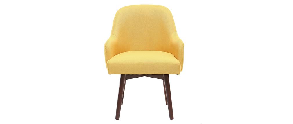 Fauteuil design jaune pieds bois foncé MONA