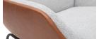 Fauteuil design marron avec tissu effet velours gris MARCEAU