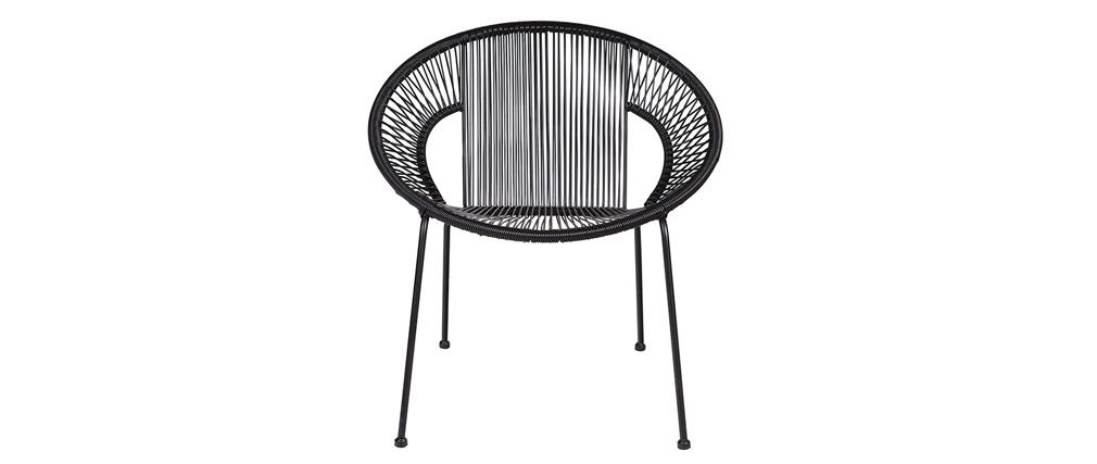 Fauteuil design métal et scoubidou noir COSTA