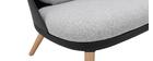 Fauteuil design noir avec coussins en tissu et pieds bois clair LEAF