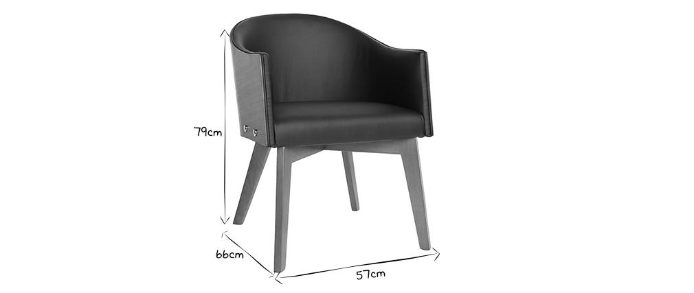 Fauteuil design noir et noyer NORDECO
