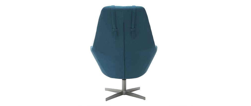 Fauteuil design pivotant en tissu bleu canard et pied métal AMADEO