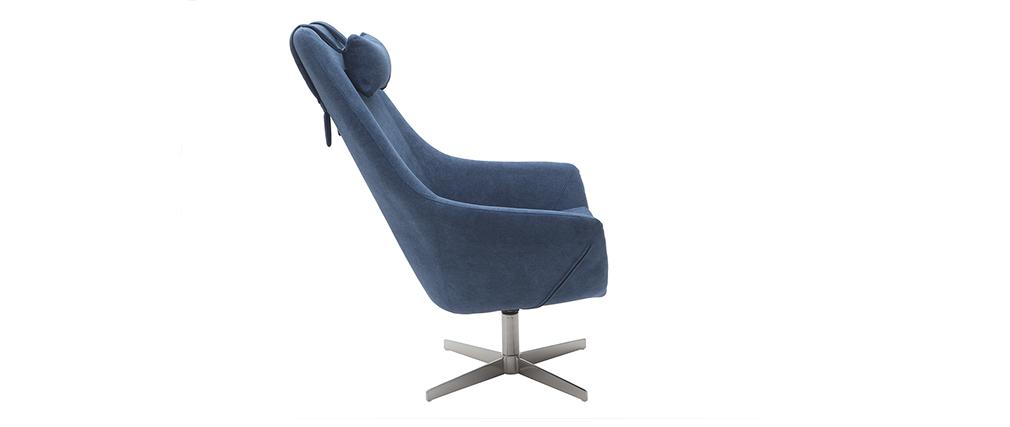 Fauteuil design pivotant en tissu bleu et pied métal AMADEO