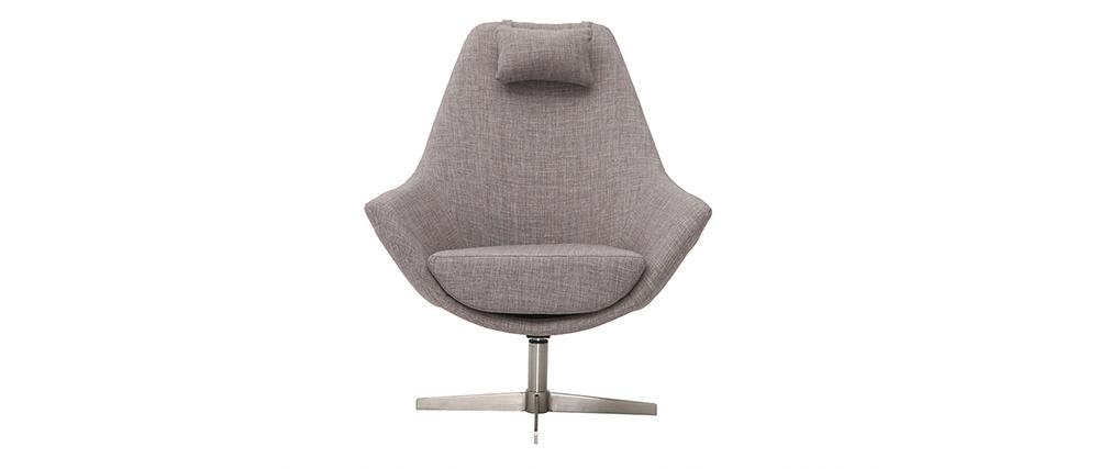 Fauteuil design pivotant en tissu gris clair et pied métal AMADEO