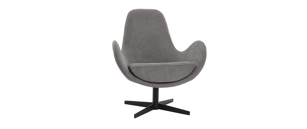 Fauteuil design pivotant tissu effet velours gris ANDY - Miliboo & Stéphane Plaza