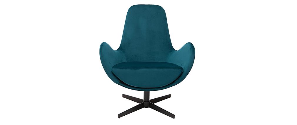 Fauteuil design pivotant velours bleu pétrole ANDY