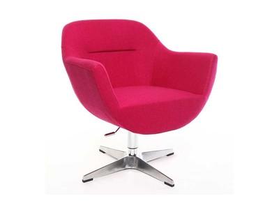 Fauteuil design polyester rose et pied aluminium OWEN