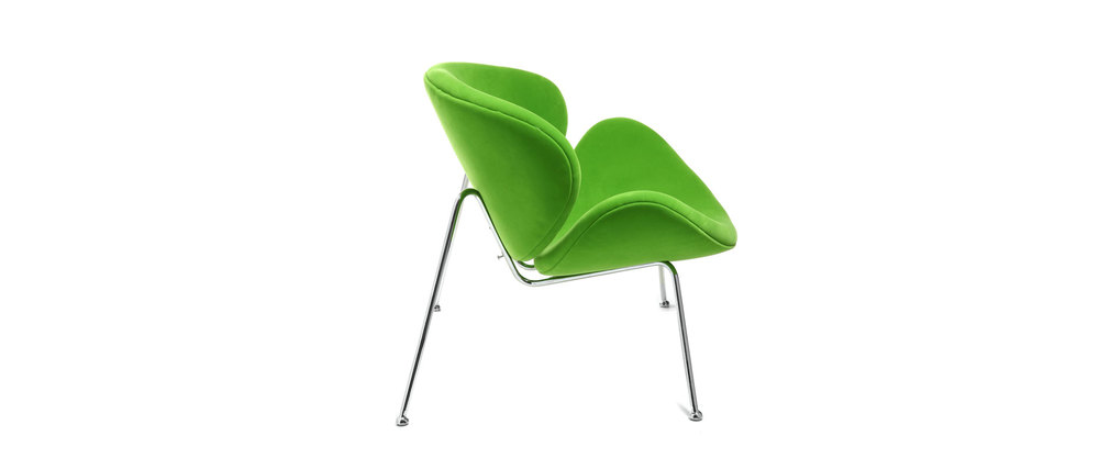 fauteuil design polyester vert prairie et acier chrom tyron miliboo. Black Bedroom Furniture Sets. Home Design Ideas