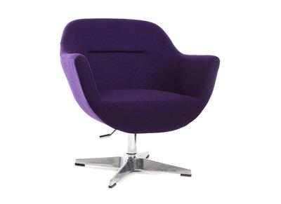 Fauteuil design polyester violet et pied aluminium OWEN