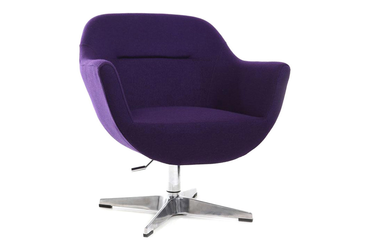 Promotion 24 fauteuil design polyester violet et pied aluminium owen anci - Fauteuil design violet ...