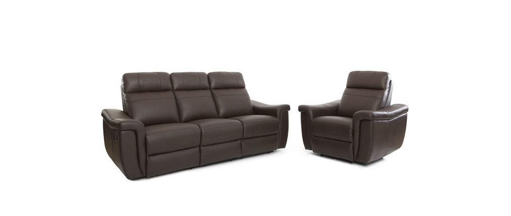 Fauteuil design relax en cuir marron ROCKFORD- cuir de buffle