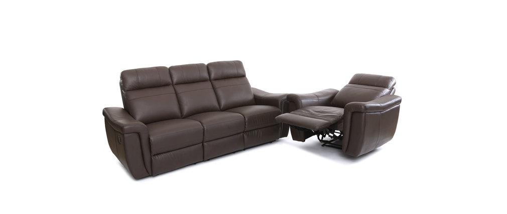 Fauteuil design relax en cuir marron rockford cuir de buffle miliboo - Fauteuil relax marron ...