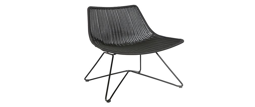 Fauteuil design rotin synthétique noir  intérieur / extérieur SUNSET