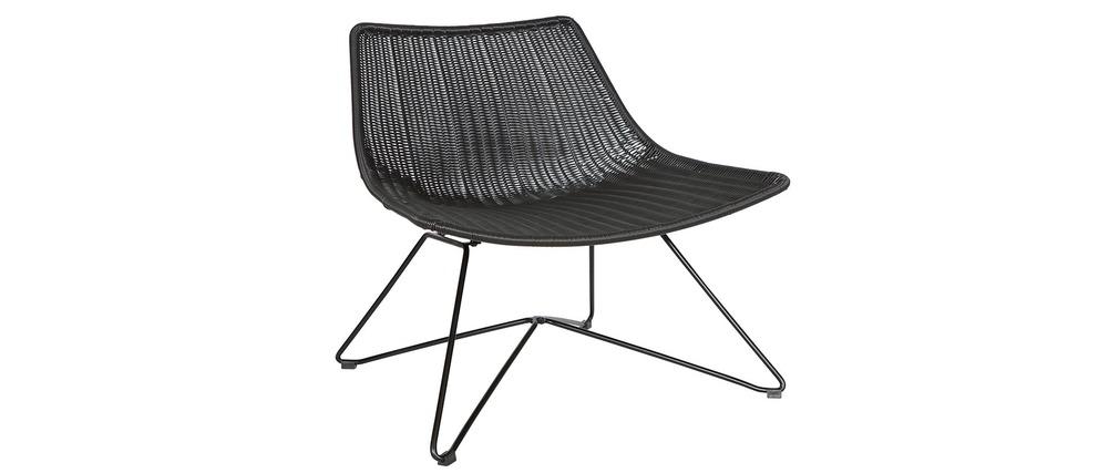 Fauteuil design rotin synthétique noir...