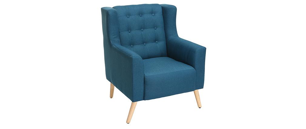 Fauteuil design scandinave bleu canard et bois clair BRIGHTON