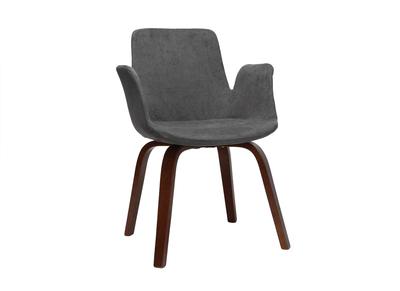 Fauteuil design scandinave bois et tissu gris HENIK