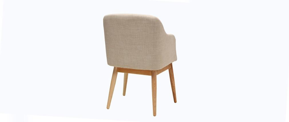 Fauteuil design scandinave bois tissu naturel BALTIK