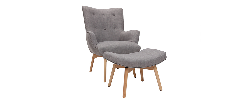 Fauteuil design scandinave et son repose pied gris clair et bois clair BRISTOL