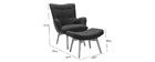Fauteuil design scandinave et son repose pied gris foncé et bois clair BRISTOL