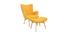 Fauteuil design scandinave et son repose pied jaune et bois clair BRISTOL
